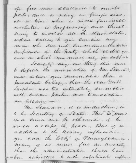 Daniel Clark to Abraham Lincoln, Sunday, January 20, 1861  (Cabinet appointments)