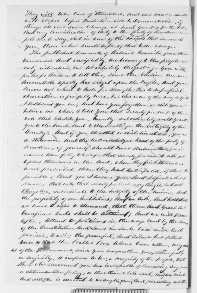 Daniel H. Whitney to Abraham Lincoln, Tuesday, April 02, 1861  (Political advice)