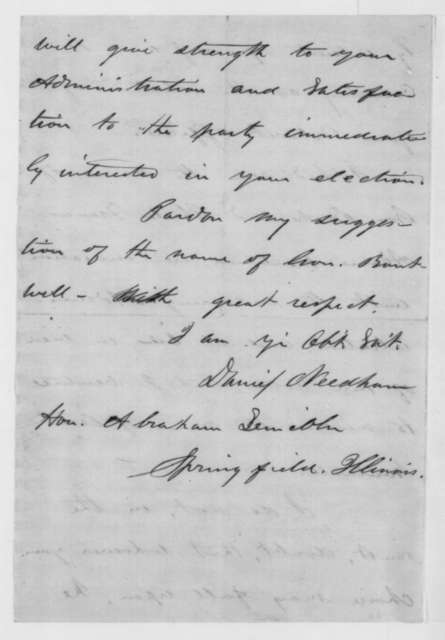 Daniel Needham to Abraham Lincoln, Tuesday, January 08, 1861  (Recommends George S. Boutwell for cabinet)
