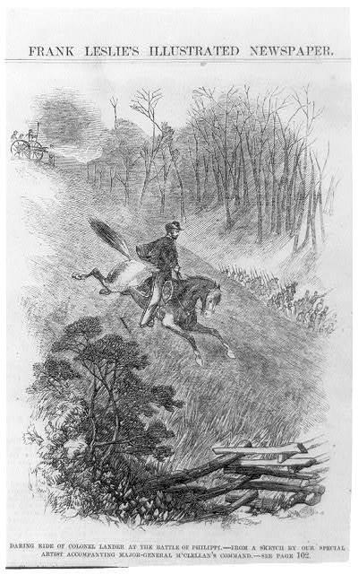 Daring ride [on horseback] of Colonel Lander at the Battle of Philippi [W. Va June 3, 1861]