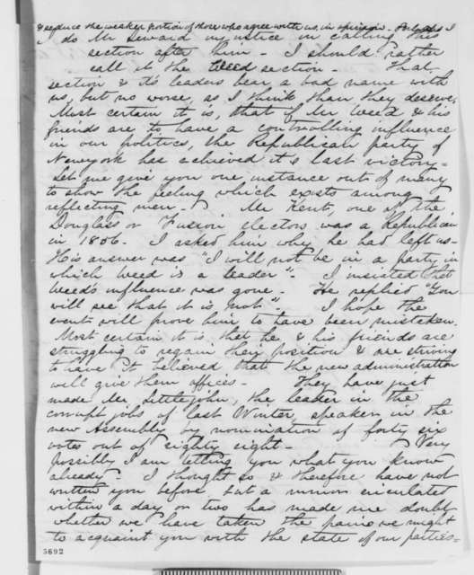 David D. Field to Abraham Lincoln, Thursday, January 03, 1861  (New York political factions)