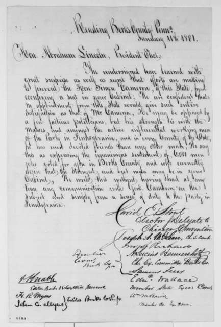 David E. Stout, et al. to Abraham Lincoln, Friday, January 11, 1861  (Petition supporting Cameron)
