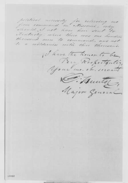 David Hunter to Abraham Lincoln, Monday, December 23, 1861  (Unhappy with his command)