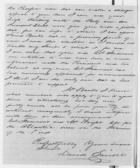 David Saville to Nathaniel P. Banks, Saturday, January 05, 1861  (Seeks office)