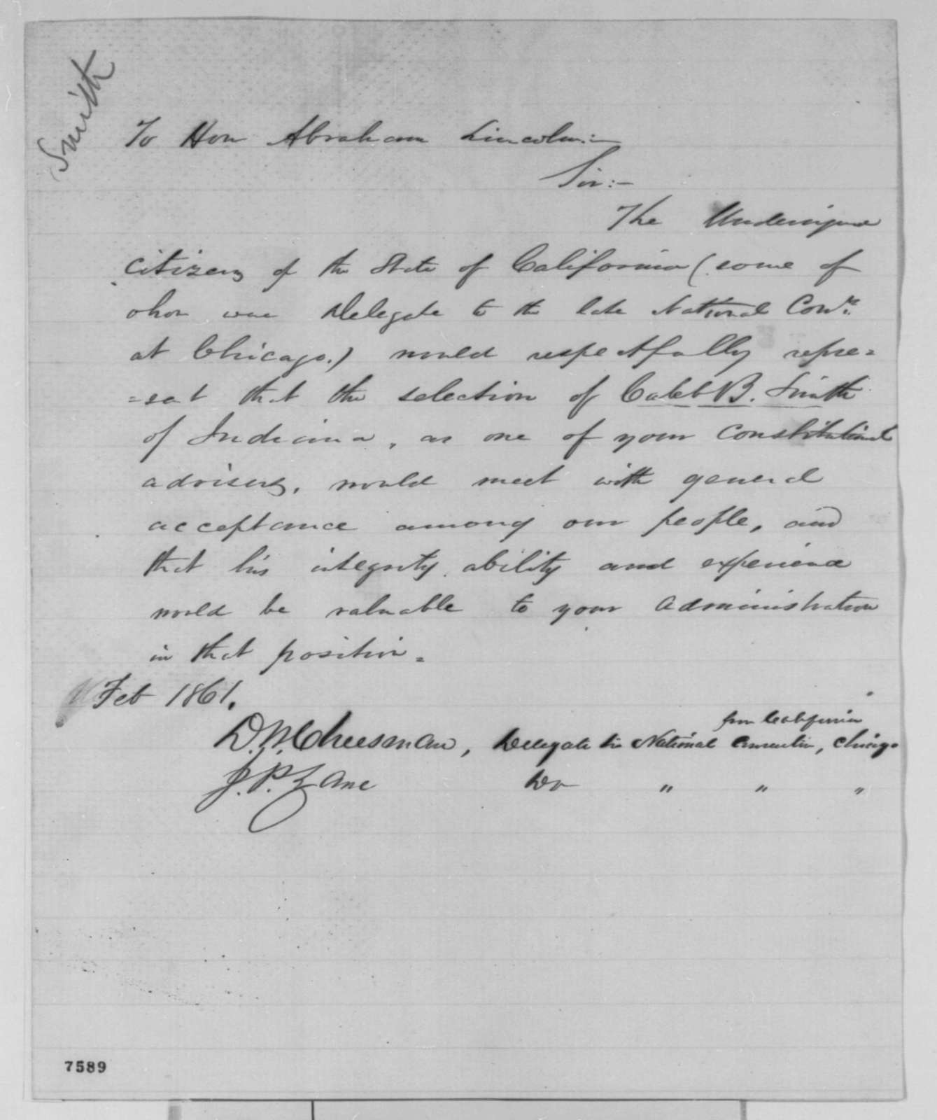 David W. Cheesman and John P. Zane to Abraham Lincoln, February 1861  (Recommend Caleb Smith for cabinet)