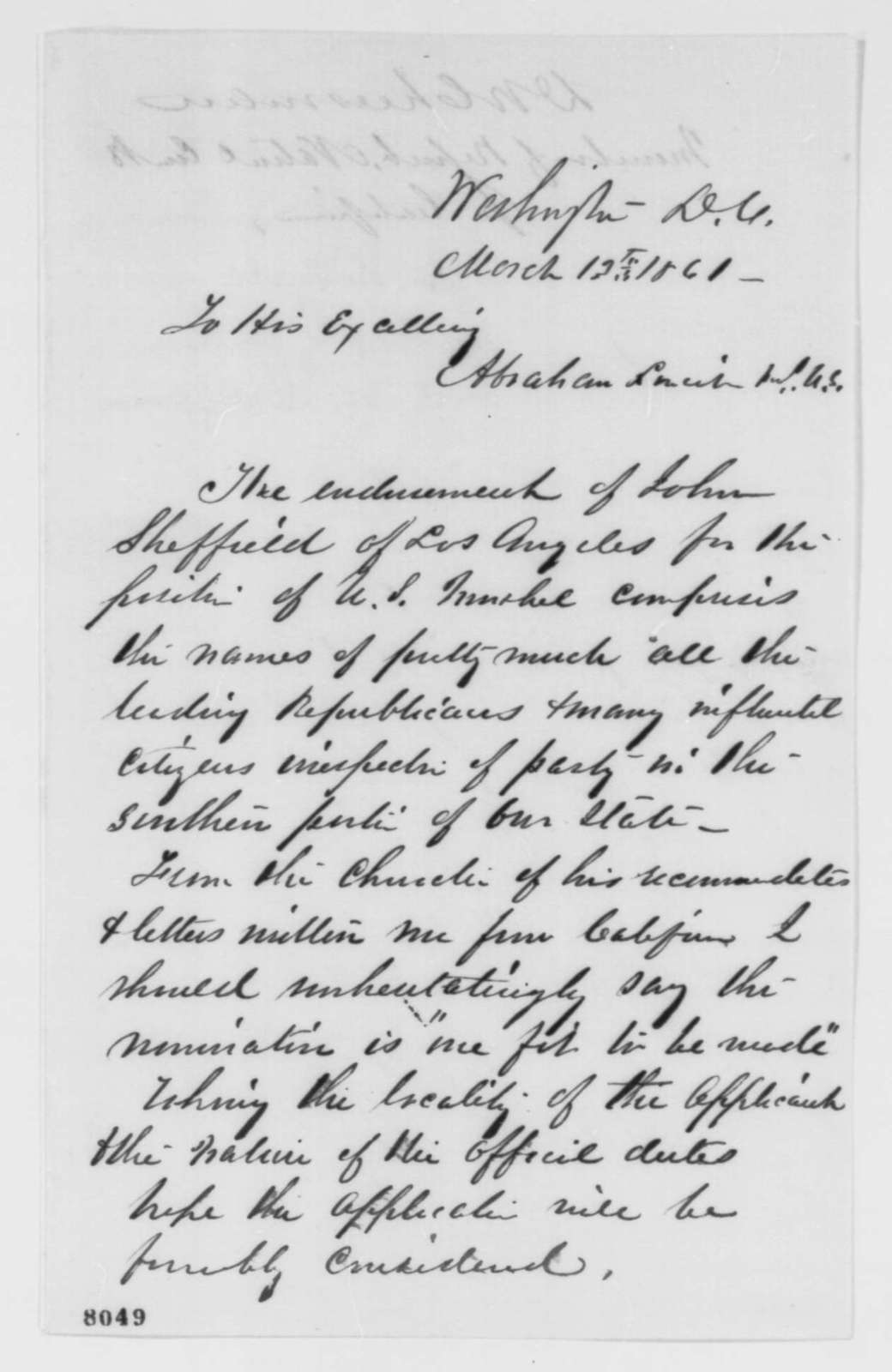 David W. Cheesman to Abraham Lincoln, Wednesday, March 13, 1861  (Recommendation)