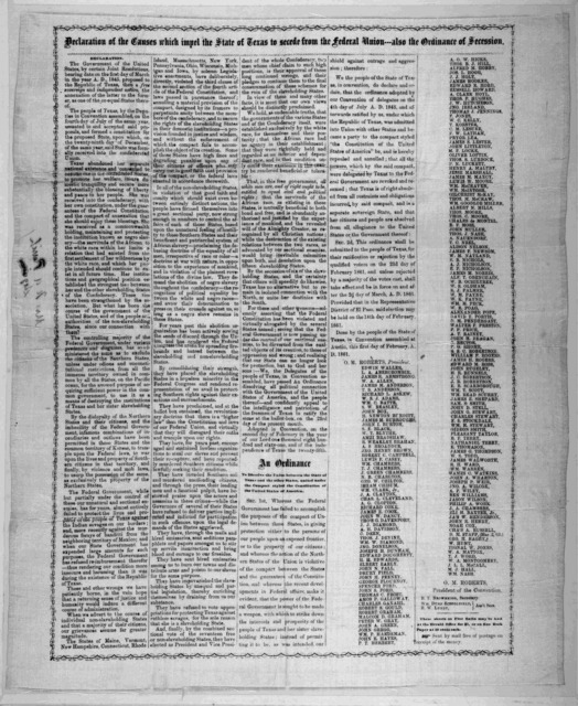 Declaration of the causes which impel the state of Texas to secede from the Federal Union : also the ordinance of secession. [Austin, Tex.? : Herald office, 1861]