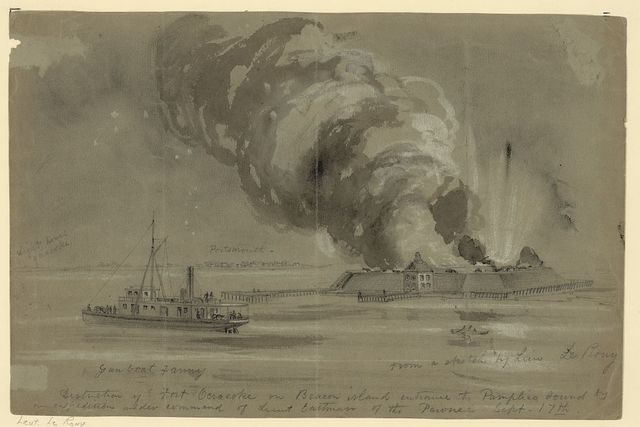 Destruction of Fort Ocracoke on Beacon Island entrance to Pamplico [sic] Sound by an expedition under command of Lieut Eastman of the Pawnee, Sept. 17th