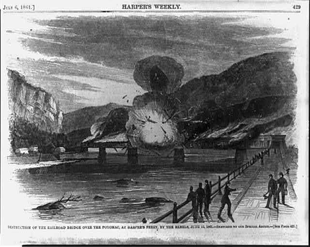 Destruction of the railroad bridge over the Potomac, at Harper's Ferry, by the Rebels, June 15, 1861