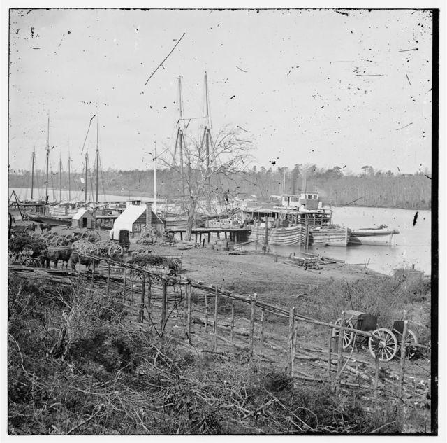 Docks with transports [Broadway Landing, Appomattox River, Virginia]