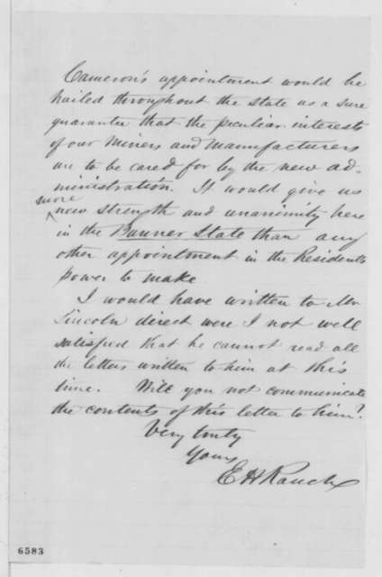 E. H. Rauch to James C. Conkling, Tuesday, January 22, 1861  (Supports Cameron)