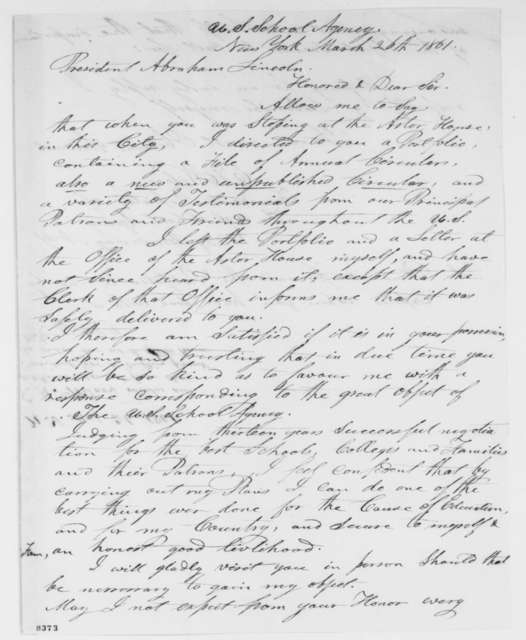 E. H. Wilcox to Abraham Lincoln, Tuesday, March 26, 1861  (Seeks acknowledgment)