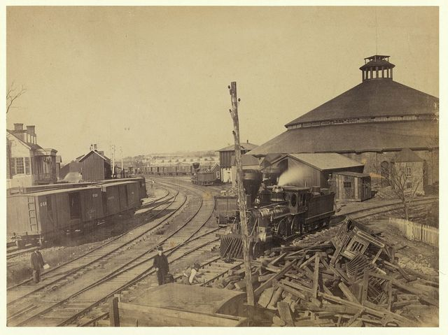 Eastern view of round house and depot, Orange & Alexandria Railroad
