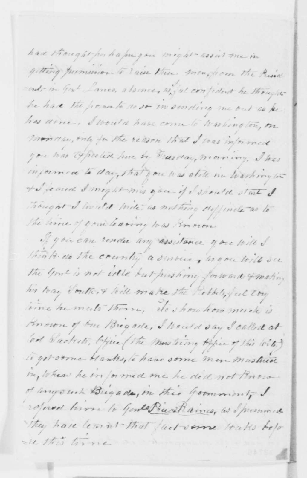 Ebenezer White to Lyman Trumbull, Wednesday, October 30, 1861  (Military affairs; endorsed by Abraham Lincoln and endorsed by John Hay, Nov. 6, 1861)