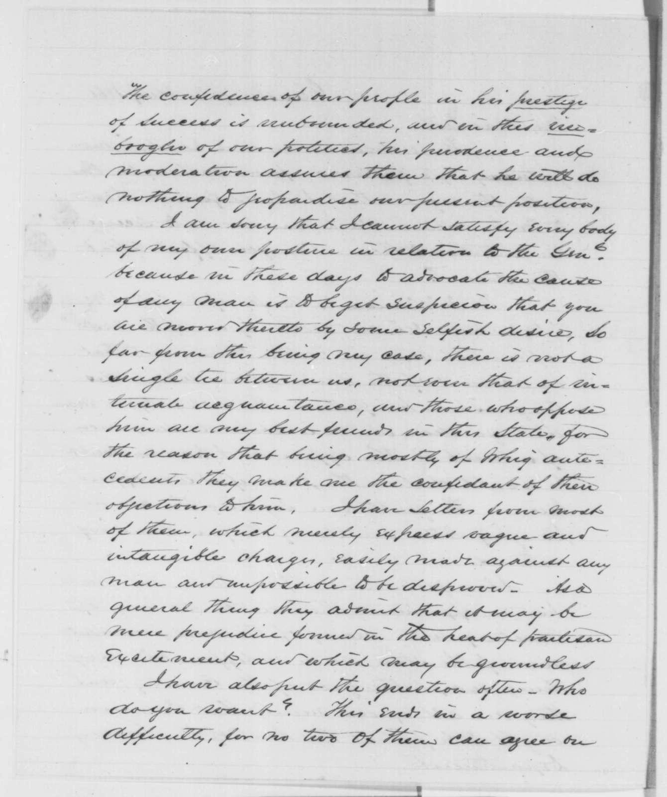 Edgar Cowan to David Davis, Wednesday, January 30, 1861  (Cameron)