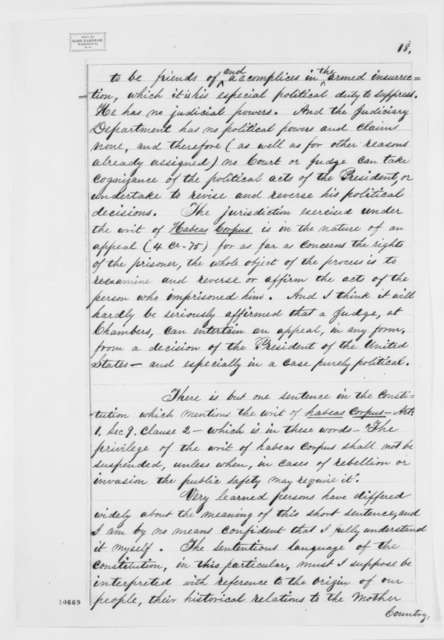 Edward Bates to Abraham Lincoln, Friday, July 05, 1861  (Opinion on suspension of writ of habeas corpus)