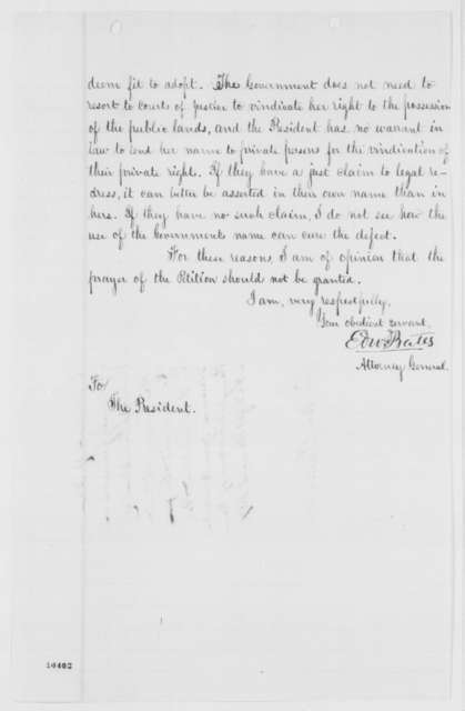 Edward Bates to Abraham Lincoln, Monday, June 24, 1861  (Opinion on removal of squatters from railroad land)