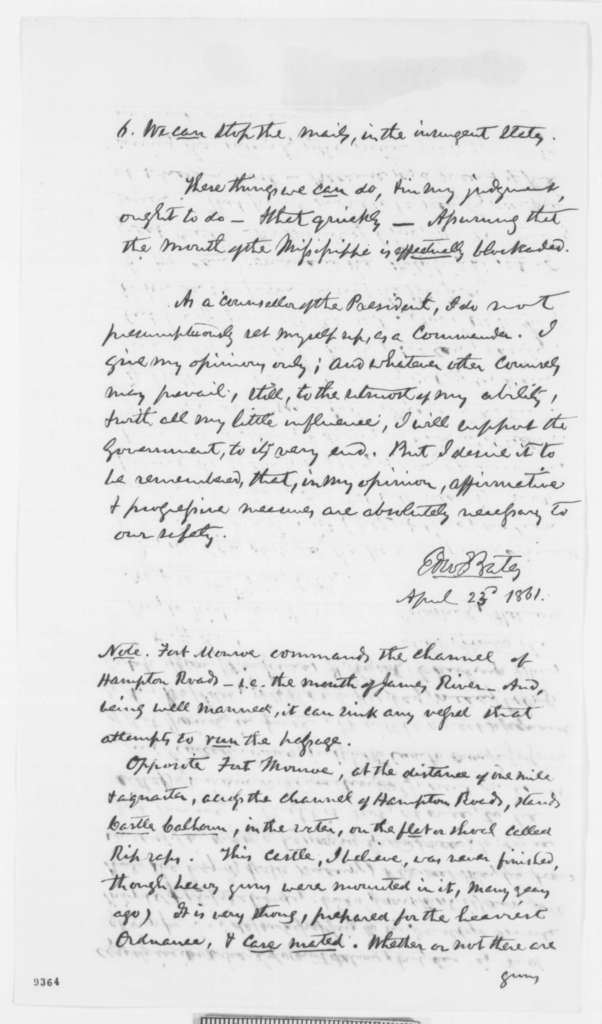 Edward Bates to Abraham Lincoln, Tuesday, April 23, 1861  (Memorandum on what action to take against Maryland and Virginia)