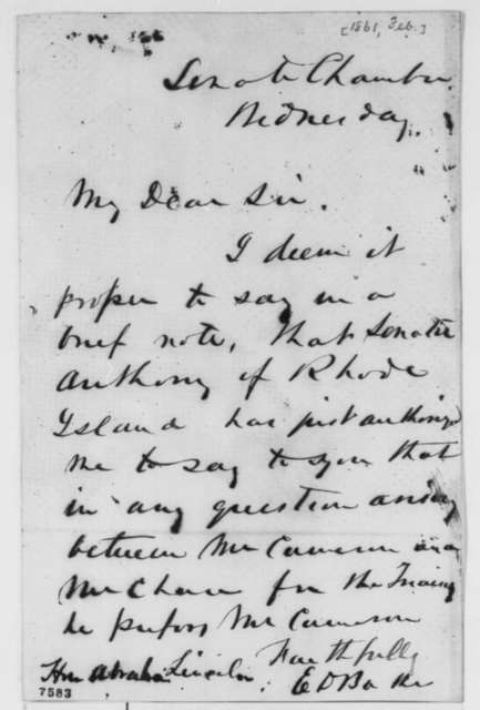 Edward D. Baker to Abraham Lincoln, February 1861  (Recommends Cameron for cabinet)