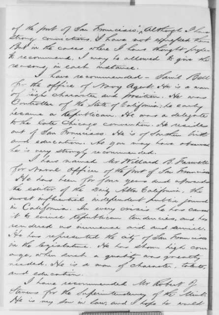 Edward D. Baker to Abraham Lincoln, Wednesday, April 03, 1861  (California appointments; endorsement by John Satterlee)