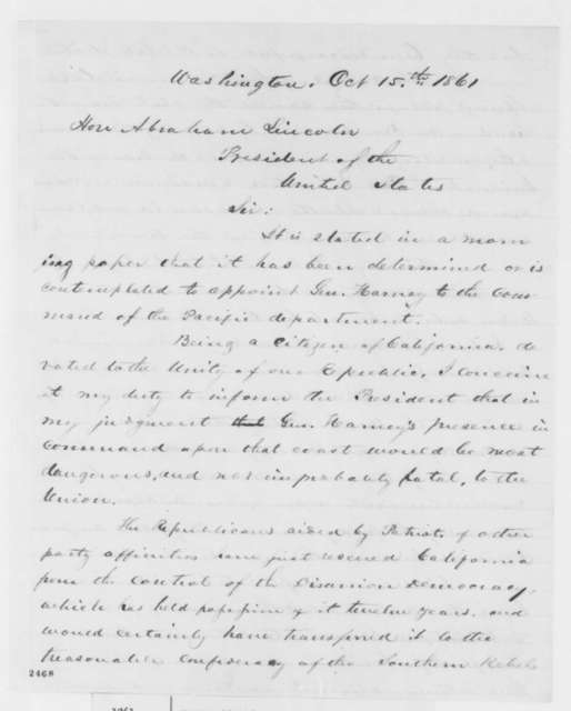 Edward Harte to Abraham Lincoln, Tuesday, October 15, 1861  (Gen. William Harney's alleged disloyalty)