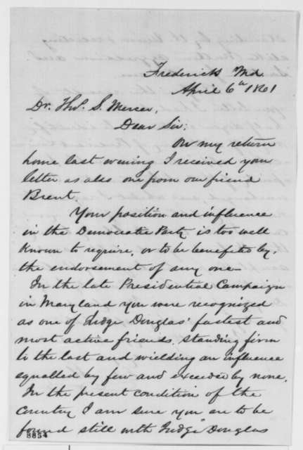 Edward Shriver to Thomas S. Mercer, Saturday, April 06, 1861  (Patronage)