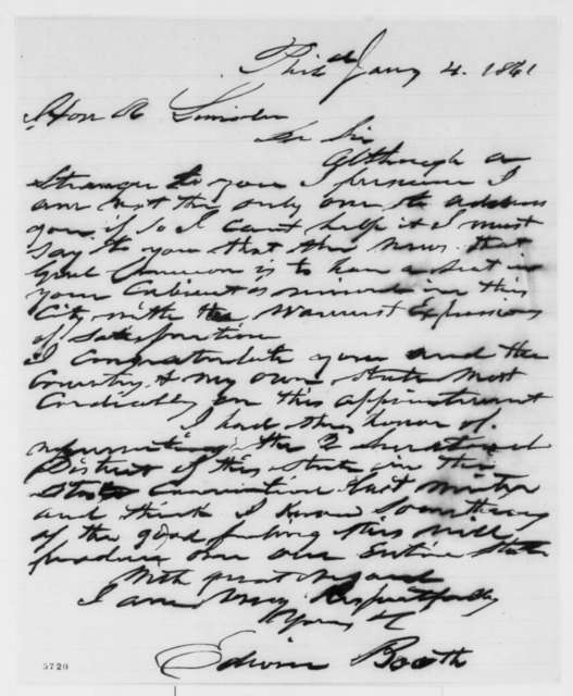 Edwin Booth to Abraham Lincoln, Friday, January 04, 1861  (Cameron)