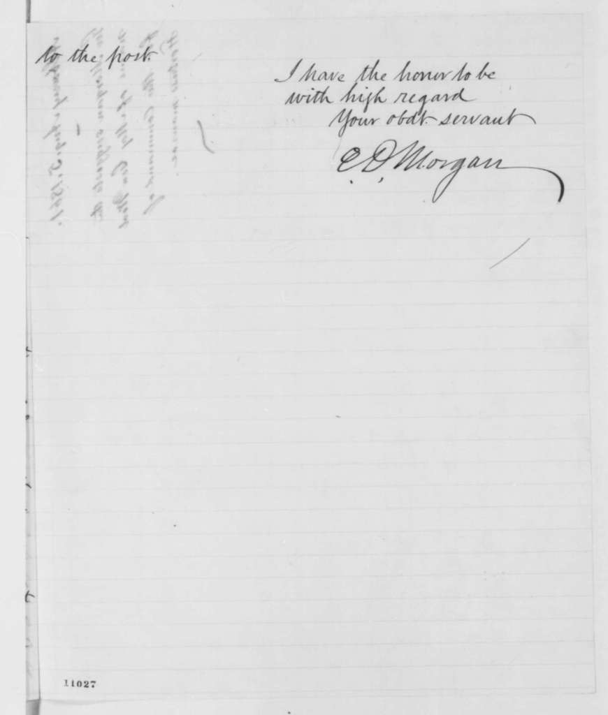 Edwin D. Morgan to Abraham Lincoln, Monday, August 05, 1861  (Military affairs)