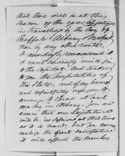 Edwin D. Morgan to Abraham Lincoln, Saturday, January 19, 1861  (Invites Lincoln to visit Albany on his way to Washington)