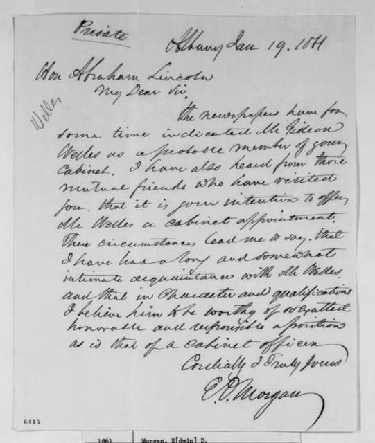 Edwin D. Morgan to Abraham Lincoln, Saturday, January 19, 1861  (Recommends Welles for cabinet)