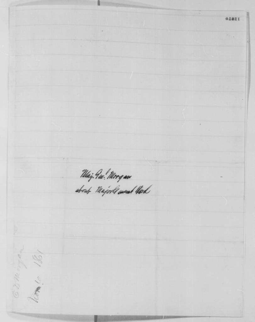 Edwin D. Morgan to Abraham Lincoln, Wednesday, November 06, 1861  (Gen. Wool)