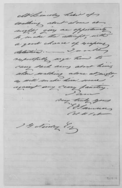 Edwin V. Sumner to John G. Nicolay, Monday, January 07, 1861  (Lincoln's safety)