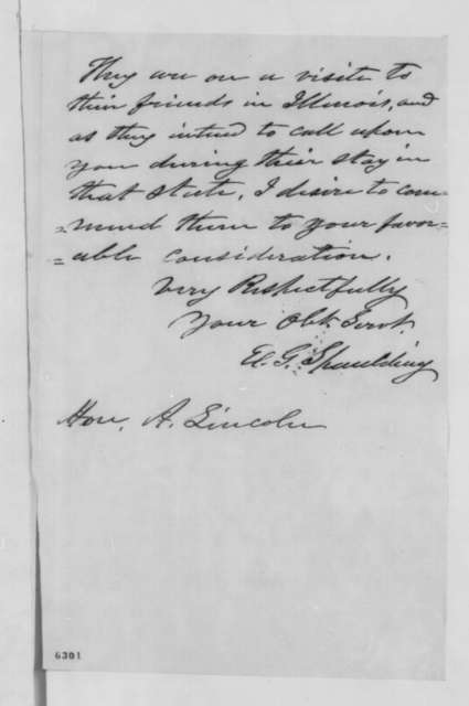 Elbridge G. Spaulding to Abraham Lincoln, Wednesday, January 16, 1861  (Introduction)