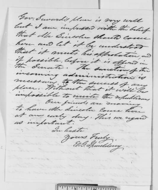 Elbridge G. Spaulding to Thurlow Weed, Wednesday, January 09, 1861  (Compromise proposed in House of Representatives)