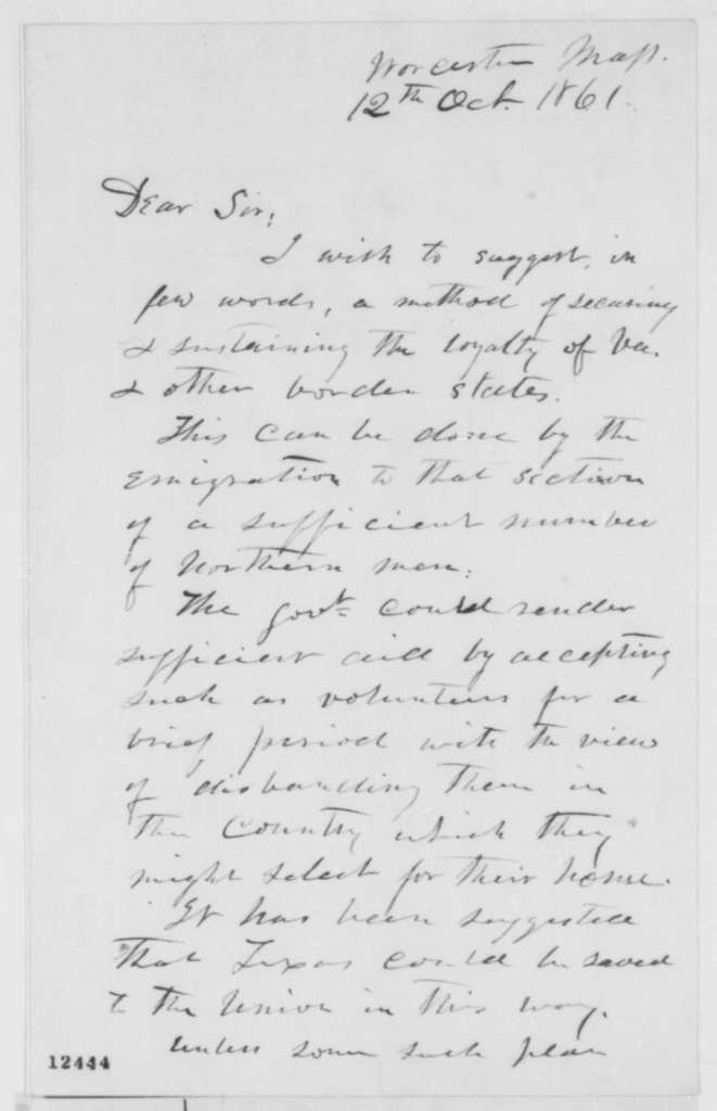 Eli Thayer to Abraham Lincoln, Saturday, October 12, 1861  (Plan for securing loyalty of border states)