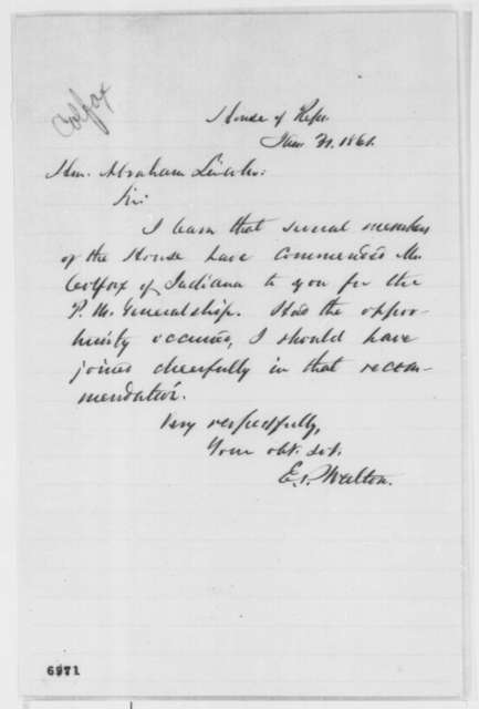 Eliakim P. Walton to Abraham Lincoln, Thursday, January 31, 1861  (Recommends Colfax for cabinet)