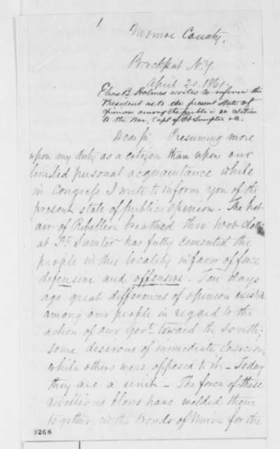 Elias B. Holmes to Abraham Lincoln, Saturday, April 20, 1861  (Political affairs and public opinion in New York)