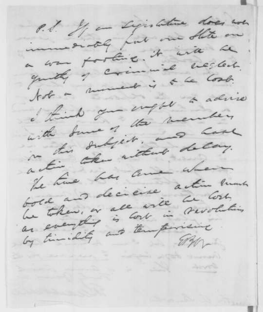 Elihu B. Washburne to Abraham Lincoln, Sunday, February 03, 1861  (Conspiracy to seize Washington)