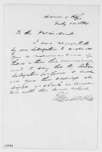 Elihu B. Washburne to Abraham Lincoln, Wednesday, July 10, 1861  (Cover letter)