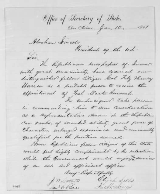 Elijah Sells,  et al. to Abraham Lincoln, Thursday, January 10, 1861  (Petition recommending Fitz Henry Warren for cabinet)