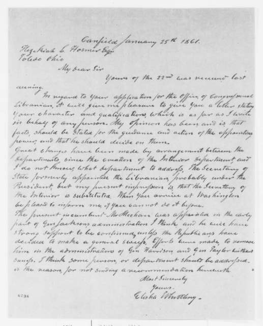 Elisha Whittlesey to H. L. Hosmer, Friday, January 25, 1861  (Application for position as Librarian of Congress)