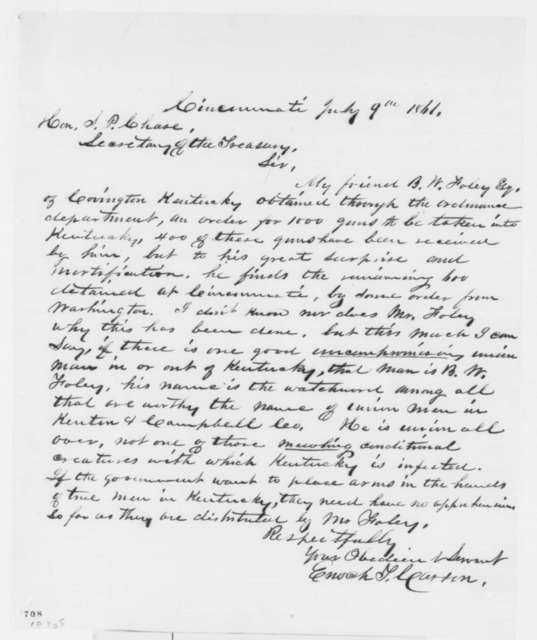Enoch T. Carson to S. P. Chase, Tuesday, July 09, 1861  (Guns for Kentucky)