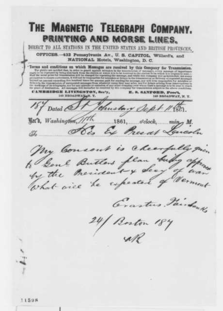 Erastus Fairbanks to Abraham Lincoln, Wednesday, September 11, 1861  (Telegram regarding military affairs)