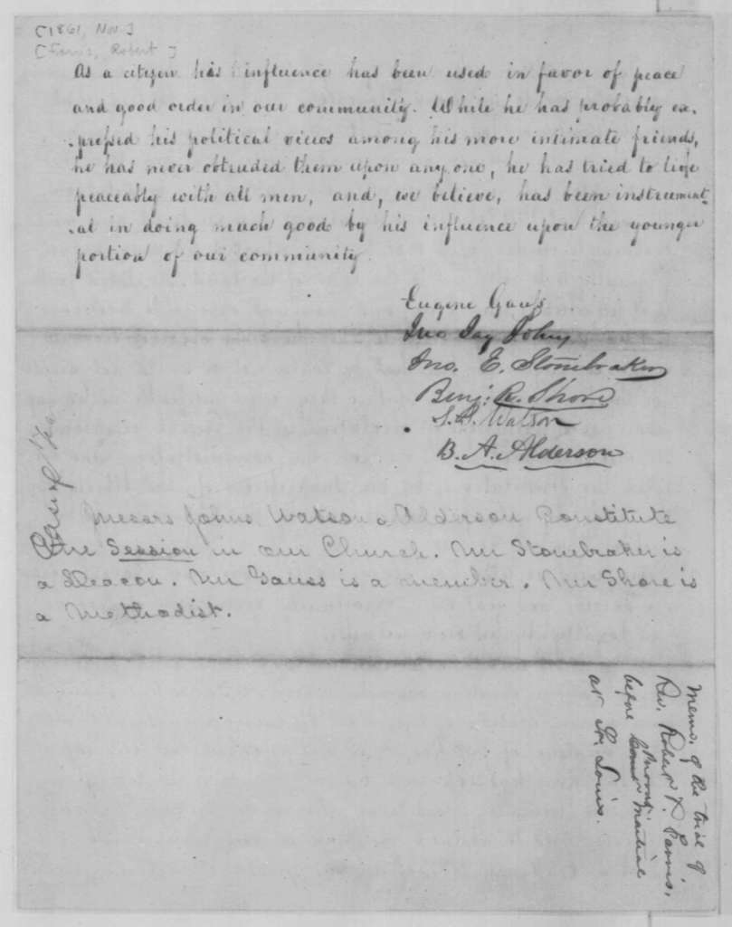Eugene Gaus,  et al. to Unknown, November 1861  (Affidavit)
