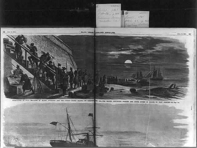 Evacuation of Fort Moultrie by Major Anderson and the United States troops, on Christmas night, 1860 - the troops conveying powder and other stores in sloop to Fort Sumpter [sic]