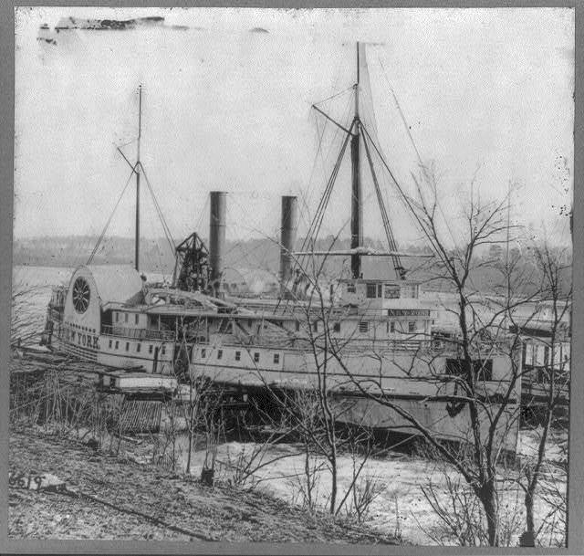 Federal flag-of-truce boat NEW YORK, at Aikens Landing, waiting for exchanged prisoners