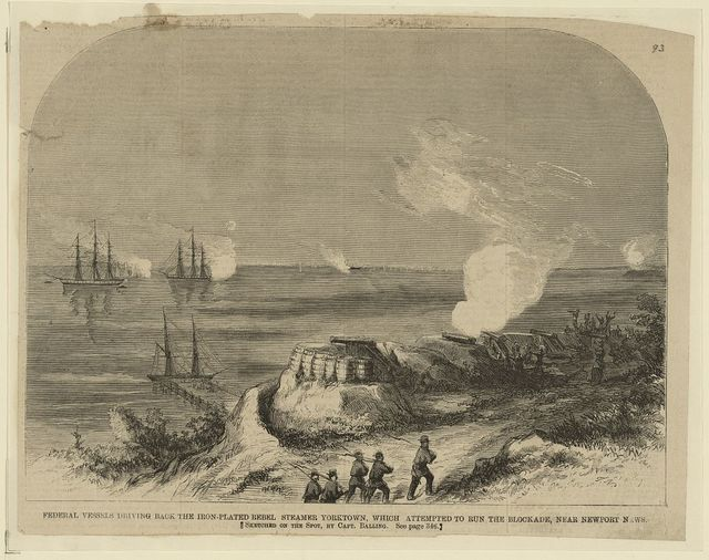 Federal Vessels Driving Back the Iron-Plated Rebel Steamer Yorktown, which At  mpted to Run the Blockade, Near Newport News