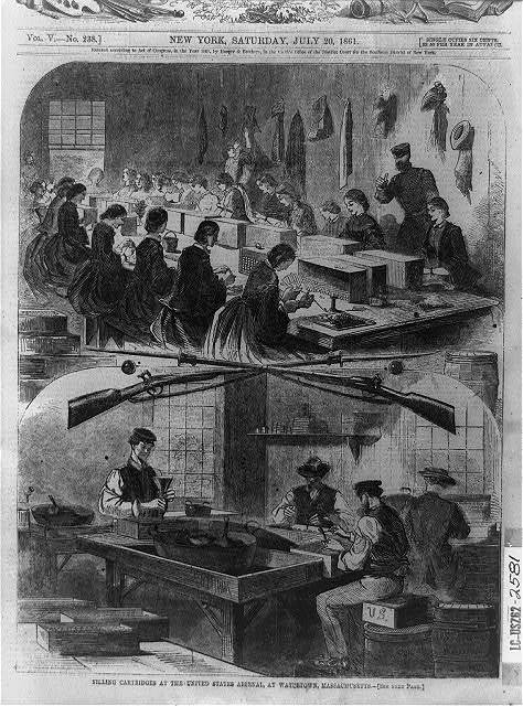 Filling cartridges at the United States Arsenal at Watertown, Massachusetts