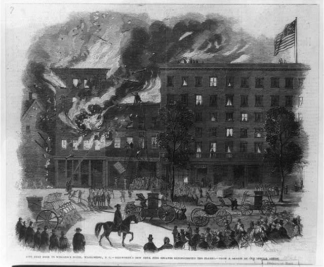 Fire next door to Willard's Hotel, Washington, D.C. Ellsworth's New York fire Zouaves extinguishing the flames / / from a sketch by our special artist.
