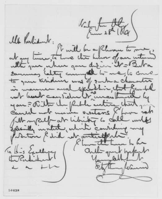 Fitz Henry Warren to Abraham Lincoln, Friday, June 28, 1861  (Seeks interview)